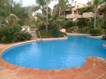 Pool area with easy access to beach