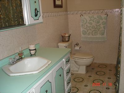 Rincon villa rental - full bathroom with shower, mosaic tiles