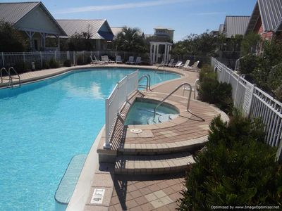 Swim and play in the large pool (7500 square ft) with attached hot tub.
