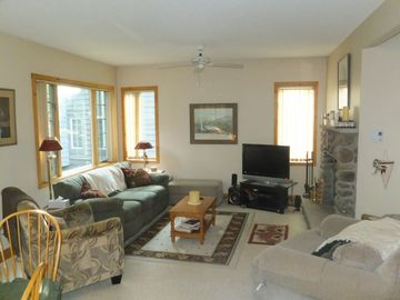 Blakeslee house rental - Family room with wood burning fireplace