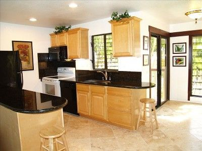 Newly renovated kitchen with granite counter tops