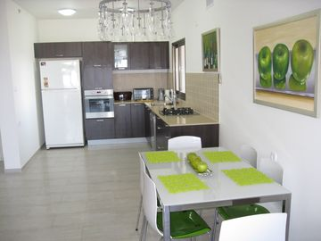wide open modern dining and kitchen