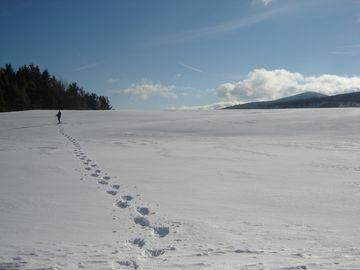 Snowshoeing on open fields two minutes from the cabin