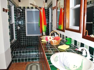 Ambergris Caye villa photo - Master ensuite bath with his and hers hand painted sinks