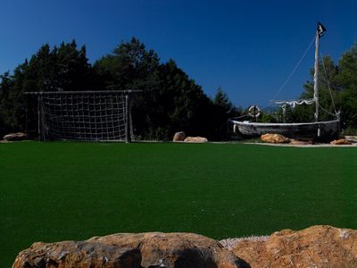 San Agustin villa rental - Astro turf football area with kiddies Pirate ship