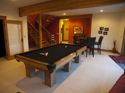 Lower Level with 8' slate pool table, theater room and 2 bedrooms.
