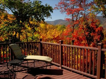 Waynesville chalet rental - View from Deck, Great Room and Master Bedroom in Fall
