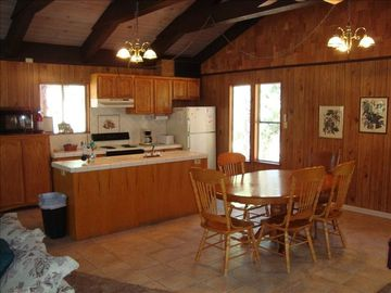 Kitchen and dining area; (2) additional tables and enough chairs for 12 persons.