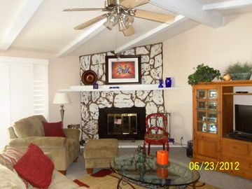 Thousand Palms house rental - Large living room ... sofa, love seat, lounge chair, ottoman, TV, slider.