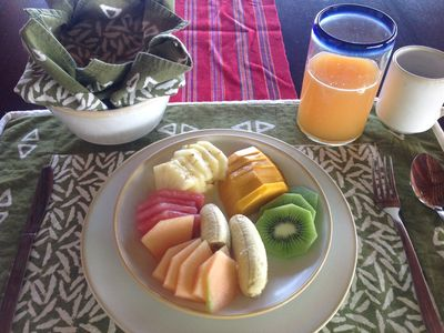 Fresh squeezed juices and fresh fruit plates daily for breakfast.