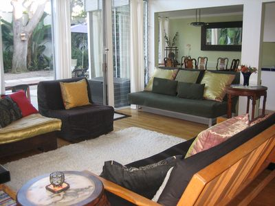 Playa Del Rey house rental - Floor to ceiling glass creates this spacious and airy Living area