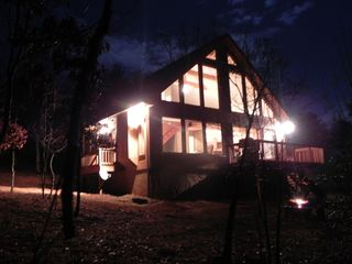 Helen cabin photo - Firepit lights off the night for storytelling.