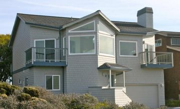 Pajaro Dunes house rental - Front of house, all front windows have ocean views