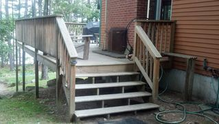 Bridgton lodge photo - Stairs to deck & outdoor fireplace