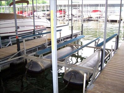 Your boat slip with remote control, 10X30, 6,000 lb boat lift - optional.