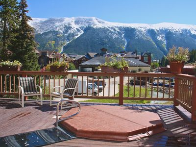 Hot tub deck with panoramic views of 'Sky Chutes'.  Gas BBQ grill also on deck!