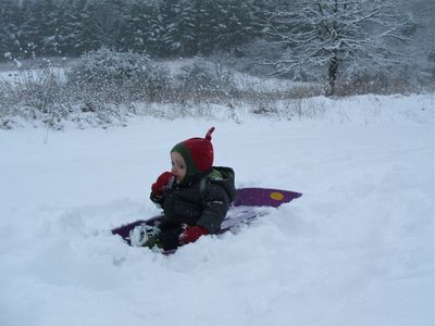 Winter sledding! Cozy up after by the fire with hot cider or hot chocolate.