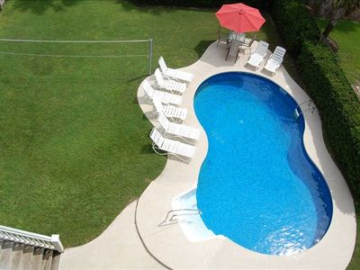 pool and private fenced yard