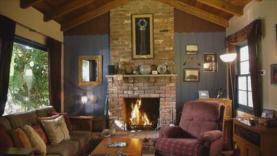 Large living room with fireplace!