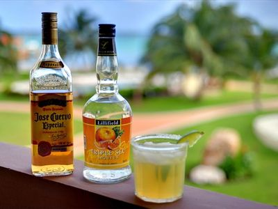"""Liquid Libation"" Anyone? Enjoy from our Balcony Overlooking the Caribbean!"