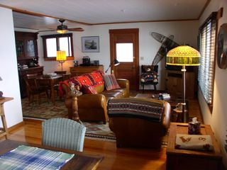 Lake Willoughby cottage photo - Combination living room, dining & game table area