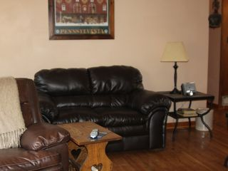 Lehighton house photo - upstairs living room with brand new leather furniture