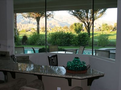 Sunken bar looking out to the pool and Santa Rosa mountains