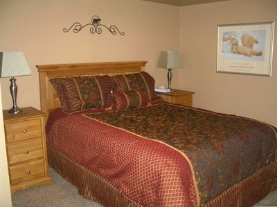 "Lower level Master bedroom with Queen Bed, private bath and 19"" TV/DVD"