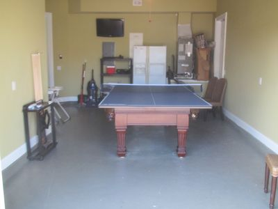 "Game room with ping pong / slate pool table and 32"" LCD TV"