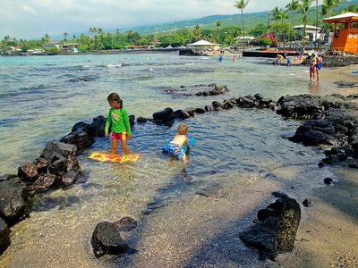 Kahalu'u Beach has wonderful tidepools for little ones.