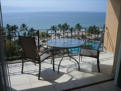 Balcony with view of pool and Banderas Bay