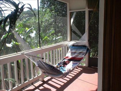 Relax on a hammock on your enclosed lania