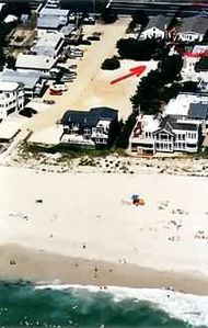 AERIAL VIEW OF HOUSE FROM THE NEWLY REPLENISHED BEACH