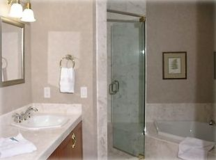 Master Bath with marble top and 2 sinks, jetted tub and separate shower