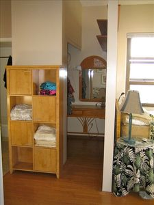 Walk in closet with dressing table
