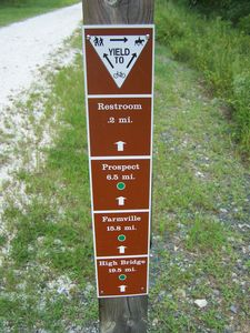 "Trail ""yield"" sign and milage marker"