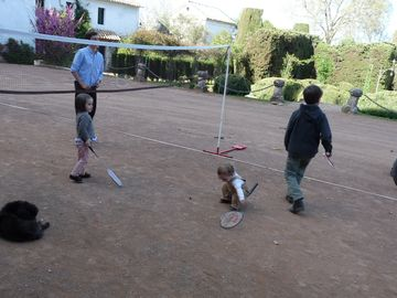 A badminton game, some of family activities