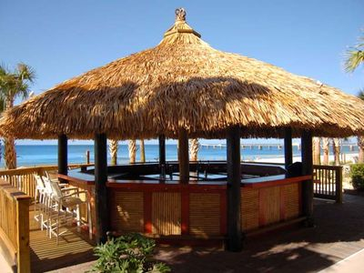 Enjoy a drink at the Tiki Bar before heading down to the beach!