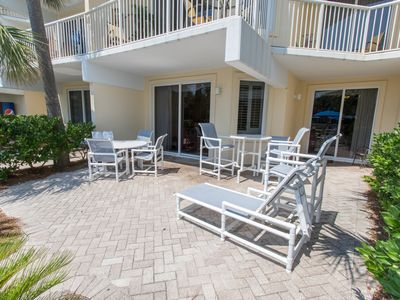Massive private patio that is just steps from the Gulfside Pool & Beach!!!