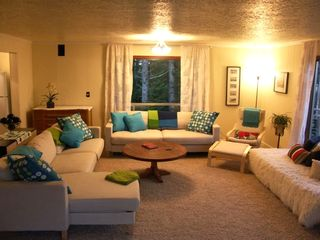 "Lincoln City house rental - Living area-Quiet up in the trees, Cozy fireplace 42"" flat screen and DVD"