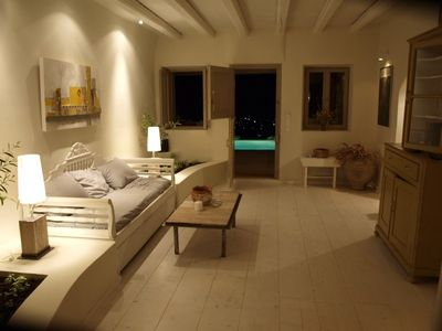 Exo Gonia villa rental - Living area/pool