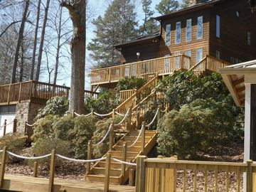 All the new decks, stairs, and areas to sit out and view the lake