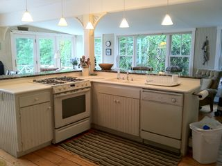 Harpswell cottage photo - Kitchen with gas stove and dishwasher ~ the gathering place when entertaining.