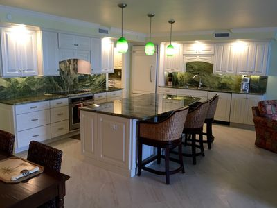 Newly (1/2016) remodeled kitchen featuring large island and high end appliances
