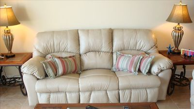 Two Leather Sofas in Living Room with Four Recline