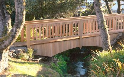 Artist-created bridge over creek