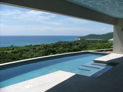 Vieques Island house rental - Pool terrace with view of Playa Grande