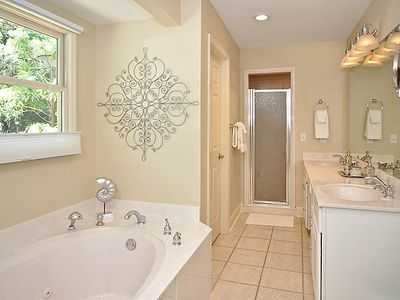 Bright, shiny, and clean master bath