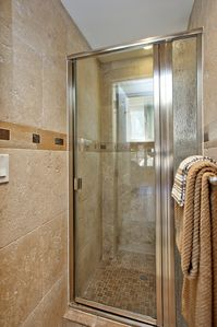 Laguna Beach cottage rental - Travertine Shower