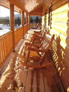 Wrap-around deck overlooking Pikes Peak